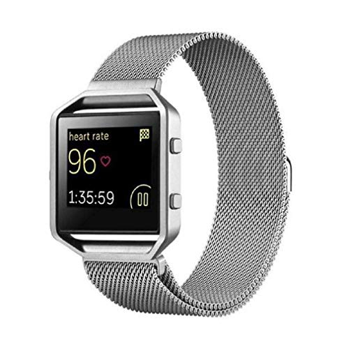 Fashion Clearance! Noopvan Fitbit Blaze Strap,Milanese Loop Stailess Steel Bracelet Strap with Metal Frame Smart Fitness Watch, Fitbit Blaze Replacement Band with Unique Magnet Lock (Silver) by Noopvan Strap (Image #2)