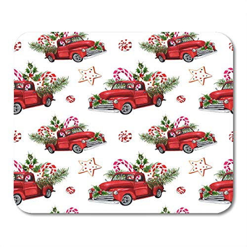 Emvency Mouse Pads Watercolor Christmas Toy Model Truck Loaded Sweets Spruce Twigs Holly Leaves Berries on Vintage Mousepad 9.5