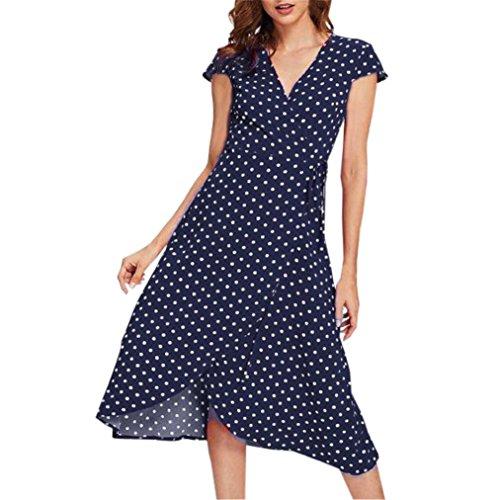 Women's Dot Printed Dress, E-Scenery Casual Cap Sleeve V-Neck Cardigan Dresses (Blue, Medium) ()