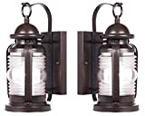 Westinghouse 6230100 Weatherby One-Light Exterior Wall Lantern, Weathered Bronze Finish on Steel with Clear Glass – 2 Pack