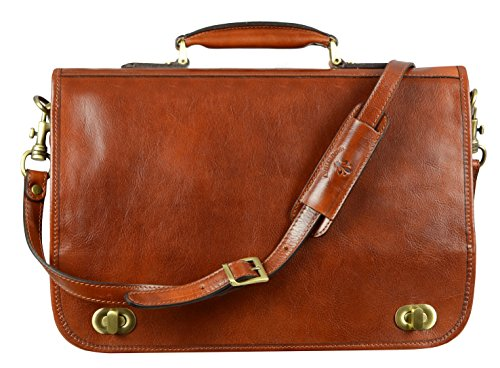Calfskin Document - Leather Briefcase Laptop Bag Attache Medium Time Resistance (Brown)