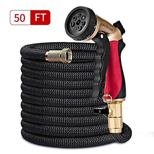 Moer Sky 50ft Garden Hose Upgraded Expandable Hose with Double Latex Core, 3/4 Solid Brass Connector, 7 Function Metal Spray Nozzle, Lightweight Durable Outdoor Gardening Flexible Hose for Yard by Moer Sky
