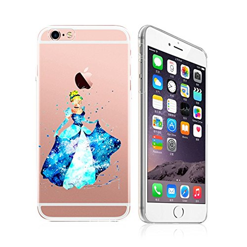 iPhone 6 / 6S, DECO FAIRY Art Painting Ultra Slim Translucent Silicone Clear Case Gel Cover - (Blue Dress Princess Forever young Cinderella)