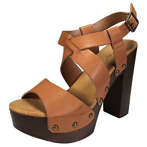 BAMBOO Women's Cross Band Faux Wood Chunky Heel Platform Sandal, Tan PU, 8.5 B (M) US