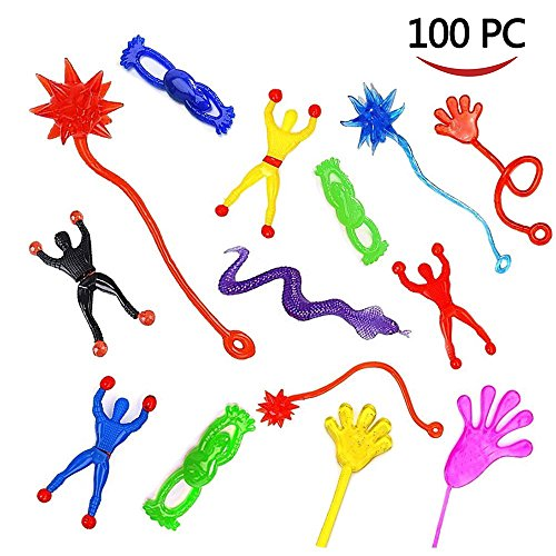 AMGLOBAL 100 Pieces Assorted Stretchy Sticky Toy, Includes 20 Sticky Hands, 20 Sticky Snakes, 20 Sticky Hammers, 20 Sticky Frogs and 20 Wall Climb Men For Kids For Fun -