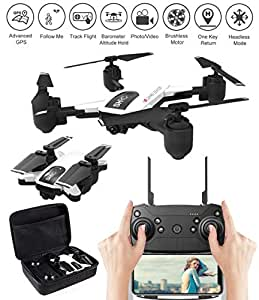 GooDGo SHRC H1 Drone WiFi Camera Record Video FPV GPS Mode Foldable RC Quadcopter Altitude Hold Follow Me Track Flight Headless Brushless Motor Smart to Return Storage Bag (White)