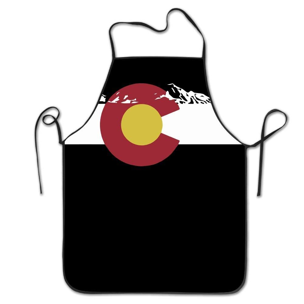 amiuhoun コロラドフラッグ レディース メンズ キッチン ビブエプロン スーパーマーケット オーバーオール シェフ 調節可能なネックシェフエプロン   B07GR1NBZK