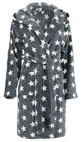 bianco grigio donna S XL L colore dimensione da cappuccio Accappatoio M con stelle brandsseller Bianco Grigio 0fvq8x