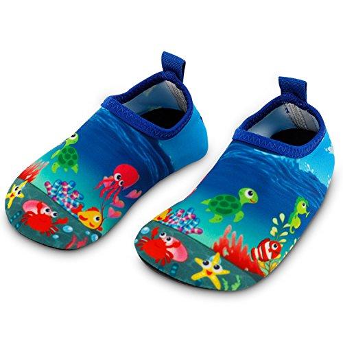 Bigib Toddler Kids Swim Water Shoes Quick Dry Non-Slip Water Skin Barefoot Sports Shoes Aqua Socks for Boys Girls Size 6.5-7.5 M US Toddler