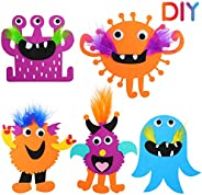 15 Pieces DIY Monsters Felt Craft Kit Foam Monster Crafts Sets Handmade Monster Crafts Kit with Double-Sided T