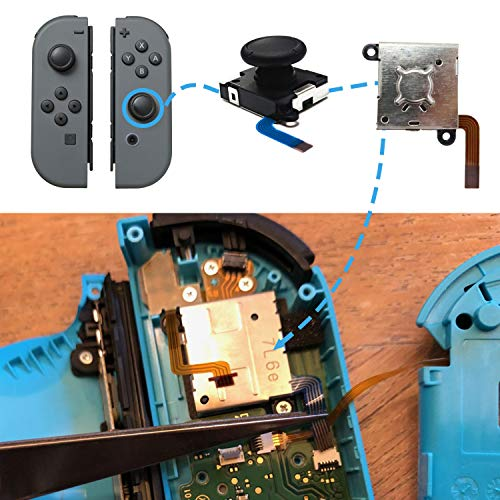 BRHE 4 Pack Joystick Replacement Repair Kit Compatible for Nintendo Switch Joy-Con Controller Left/Right 3D Analog Thumb Sticks Sensor with Tool Set, Screws, Springs, Thumb Caps (Black)