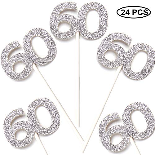 Pack of 24 Cupcake Toppers 60th - Anniversary or Birthday Cake Picks Party Decoration | Silver ()