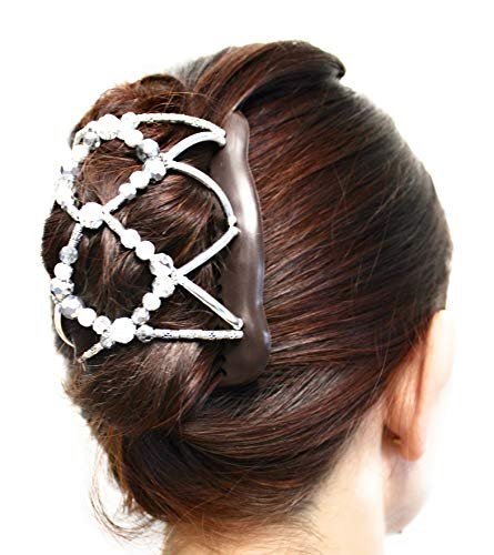 Clip Fancy (FANCY COMBS Hair Accessory Clips for Women Any Hair Type - French Twist Holder, Bun Maker, Ponytail - Decorative Hair Combs with Interlocking System Hold Hair All Day (M/Large, Silver Bead, Brown))