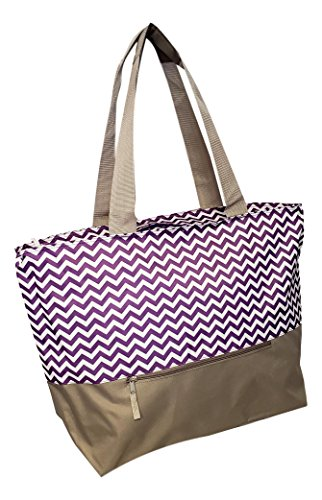Gold Large Tote - XL Beach Tote Chevron Print Weekender Bag with Mesh Webbed Handles and Outer Zippered PocketCan Be Personalized (Blank, Purple)