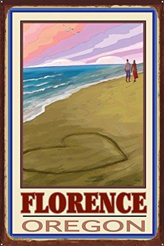 Northwest Art Mall Florence Oregon Love On Coast Rustic Metal Art Print by Joanne Kollman (24