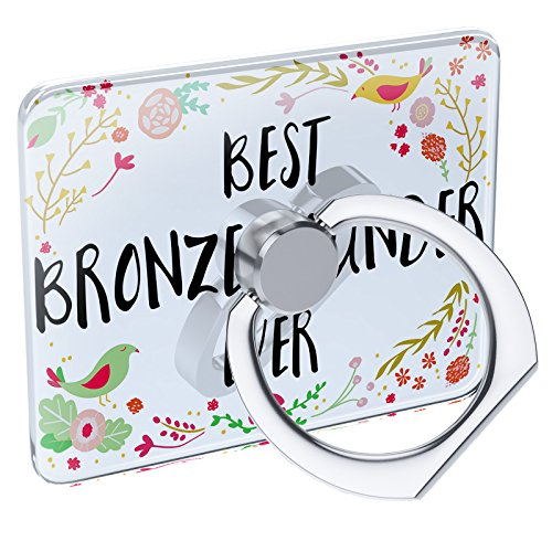 Cell Phone Ring Holder Happy Floral Border Bronze Founder Collapsible Grip & Stand Neonblond