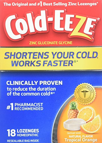 Cold-EEZE Cold Remedy Lozenges Tropical Orange, 18 Count, Cold Remedy Lozenges, Pharmacist Recommended Zinc Lozenge, Shortens Colds