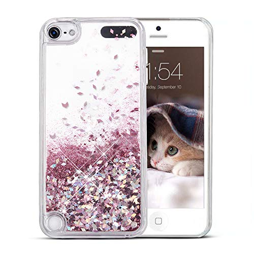 Maxdara iPod 5 Case, iPod 6 Case, Glitter Liquid Floating Bling Sparkle Quicksand Case for Girls Children for Apple iPod Touch 5th 6th Generation (Rosegold) (Ipod 5 Cute Girl Cases)