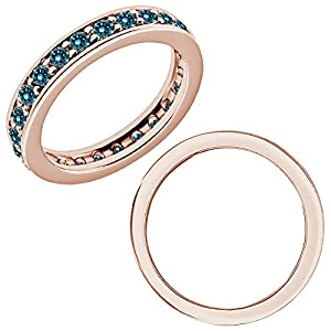 1.25 Carat Blue Diamond Beaded Traditional Full Eternity Engagement Band Ring 14K Rose Gold