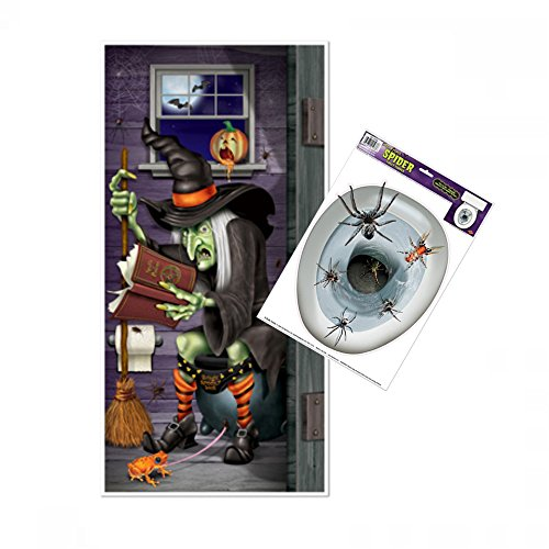 Halloween Party Decorations - Witch Bathroom Door Cover - Spider Toilet Topper ()