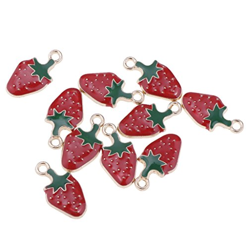 - Homyl 10 Pieces Cute Small Kawaii Fruit Shape Enamel Charm Pendants Pick Cherry/Watermelon/Strawberry DIY Charms Jewelry Findings for Necklace Bracelet Making Accessories - 3# Strawberry