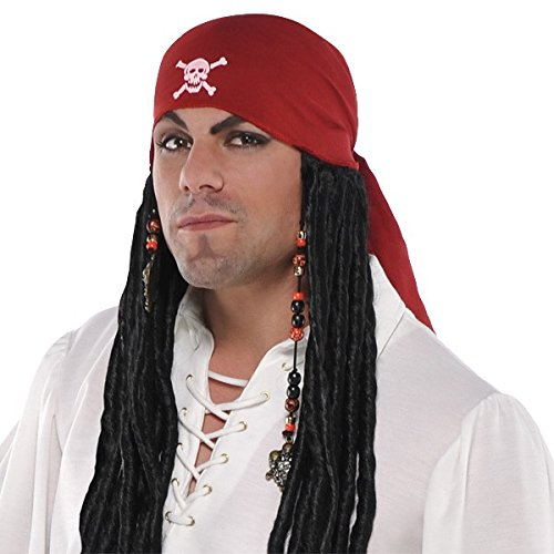 [Amscan Notorious Pirate Party Bandana Wig with Dreads Accessory Synthetic Hair (1 Piece), One Size,] (Pirate Clothing And Accessories)