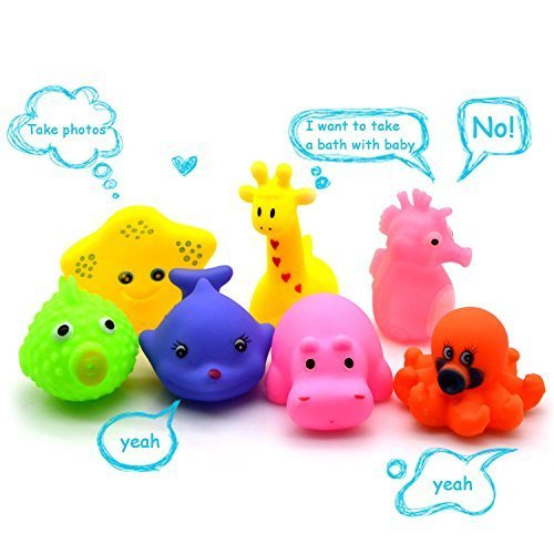 Mini Squeaky Animal Bath Toys, Beyoung? 7pcs/Lot Mixed Different Animal Bath Toys Children Washing Education Toys by VC (Jungle Mini Toy)