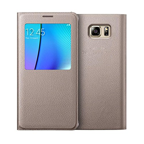 Price comparison product image MNtech New Fashion Luxury Window Flip Leather Case Cover for Samsung Galaxy Note 5 (Gold)