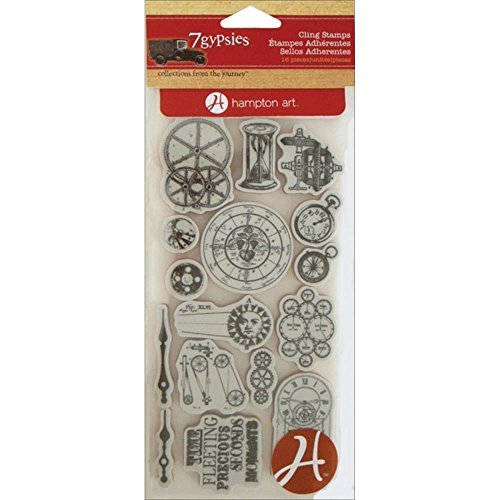 - Hampton Art Cling 7-Piece Gypsies Stamp, Time Pieces