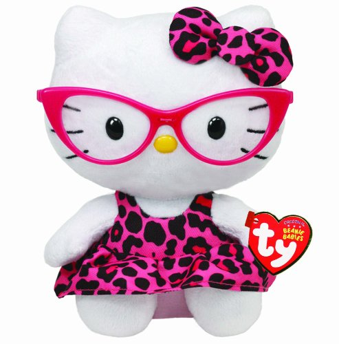 Ty Beanie Baby Hello Kitty Plush -Pink Leopard Nerd with - With Hello Kitty Glasses