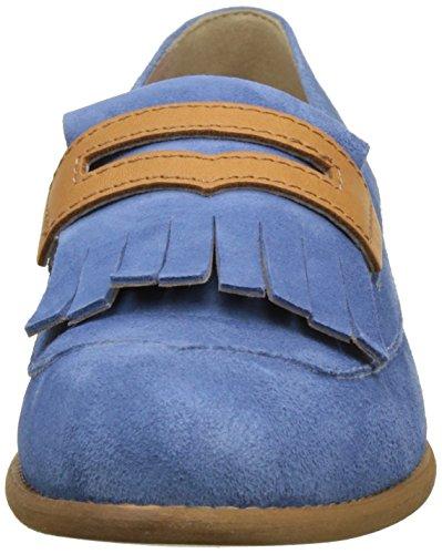 Donna Piu Damen 52773 Dora Slipper Bleu (Camoscio Ciano/Vacchetta Cuoio)