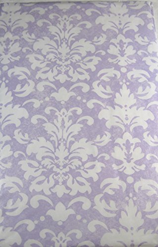 Spring Fling Fleur De Lis Flannel Back Vinyl Tablecloths Lavender & White Assorted Sizes (52 x 102 Oblong)