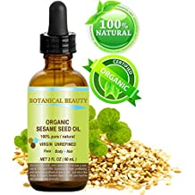 ORGANIC SESAME OIL, 100% Pure/Undiluted / Cold Pressed. 2oz -60 ml. For Face, Hair and Body.
