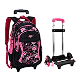 Fellibay Rolling Backpack Kids Backpack 3 Wheels Kids Trolley Schoolbag Girls Backpack