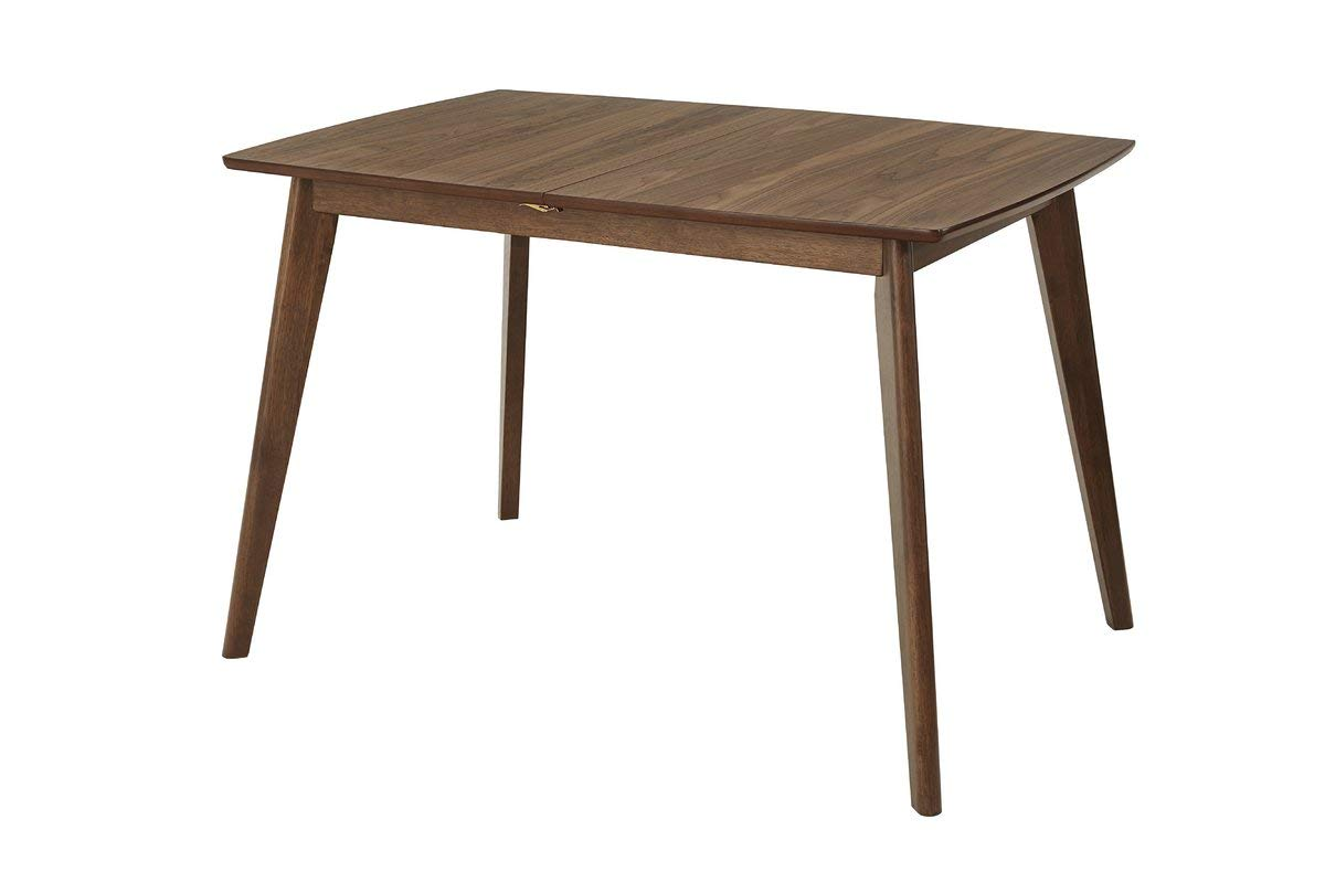Wood Dining Table with Tapered Legs - Dining Table with Butterfly Leaf - Warm Walnut
