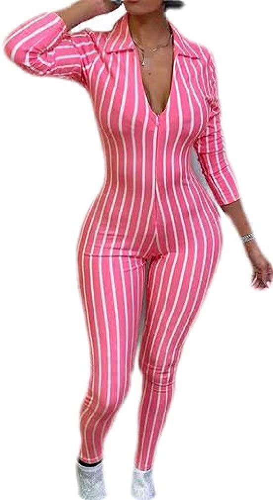 Etecredpow Womens Long-Sleeve Striped Long Sleeve Deep V Neck Bodycon Rompers Jumpsuits