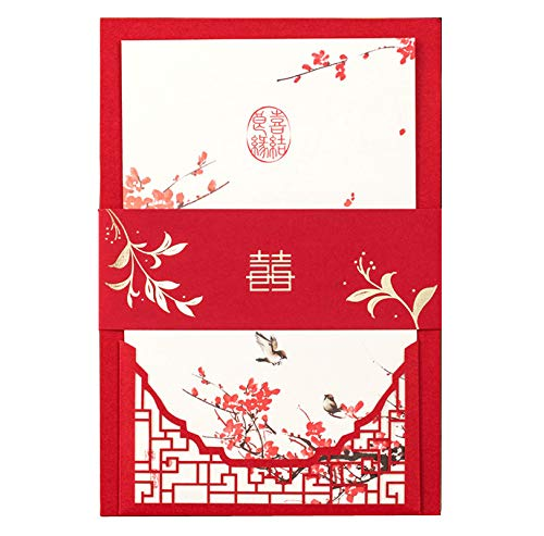 (Wedding Invitations Red Chinese Traditional Laser Cutting Wedding Cards Invitation with envelopes Wedding Favors (red, 50) )