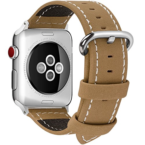 9 Colors for Apple Watch Band, Fullmosa Calf Leather Strap Replacement Band/Strap with Stainless Steel Clasp for Apple iWatch Series 1 2 3 Sport and Edition Versions 2015 2016 2017, 38mm Light Brown