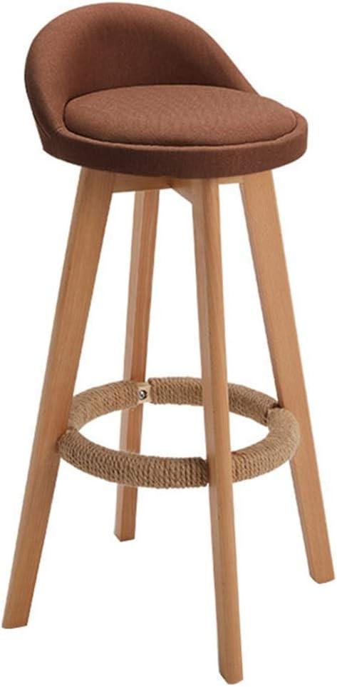 JY & WIN barkruk barkruk eetkamerstoelen draaibare voetensteun keukenstoel ontbijt koffie houten poten zacht linnen creatief moderne stijl (bruin) 73 cm, bruin 73 cm, bruin