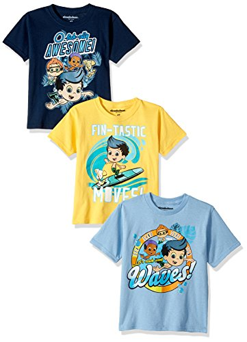 Nickelodeon Toddler Boys' Bubble Guppies B 3-Pack Short Sleeve T-Shirt, Blue/Yellow/Navy, 4T (Boys Bubble)