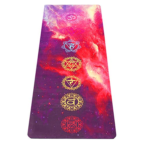 Umineux Yoga Mat - Eco Friendly 5mm Extra Thick Yoga Mat, Non Slip Natural Suede 2-in-1 Mat&Towel, Premium Print Exercise Fitness Mat with Carrying Strap&Bag for All Types of Yoga (Best La Fitness In La)
