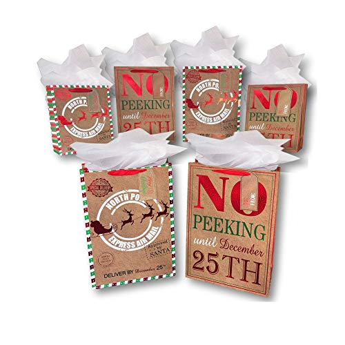 Christmas Paper 12x12 Wishes (Christmas Gift Bags - Premium Quality Bags PLUS Tissue Paper - Med, Lg & Jumbo - Sets of 6 & Sets of 12 (Crafty Christmas Wishes Foil Printed Gift Bags - 2, 6- Bag Bundle (2 Jumbo, 2 Large, 2 Medium)))