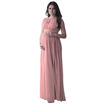 d85b78e4568ed Women's Elegant Sleeveless Drape Crewneck Belt Maternity Pregnant  Photography Boho Chic Tie Long Maternity Dress (