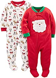 Simple Joys by Carter's Baby and Toddler 2-Pack Holiday Loose Fit Fleece Footed Paj