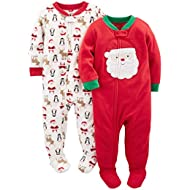 Baby and Toddler 2-Pack Holiday Loose Fit Fleece Footed Pajamas