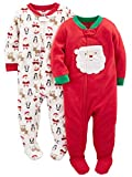Simple Joys by Carter's Baby 2-Pack Holiday Loose Fit Flame Resistant Fleece Footed Pajamas, Ivory Red Santa, 24 Months