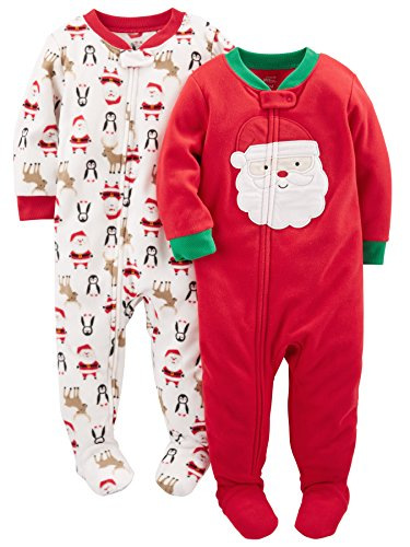 Simple Joys by Carter's Baby 2-Pack Holiday Loose Fit Flame Resistant Fleece Footed Pajamas, Ivory Red Santa, 12 Months