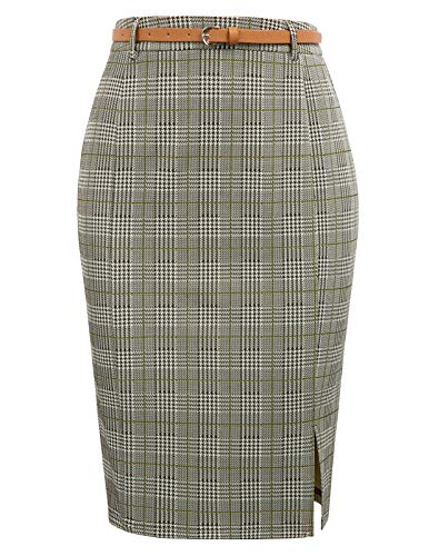 Kate Kasin Women Retro Elastic Waist Business Career Pencil Skirt with Belt, Yellow, XL