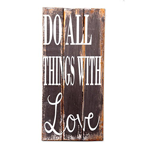 NOVICA Gray Hand Crafted Inspirational Wood Sign, Do All Things with Love' by NOVICA