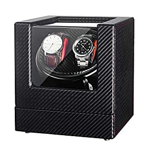 JQUEEN Automatic Watch Winder with Quiet Japanese Mabuchi Motor,Microfiber Leather,Acrylic Sheet,10 Adjustable Modes
